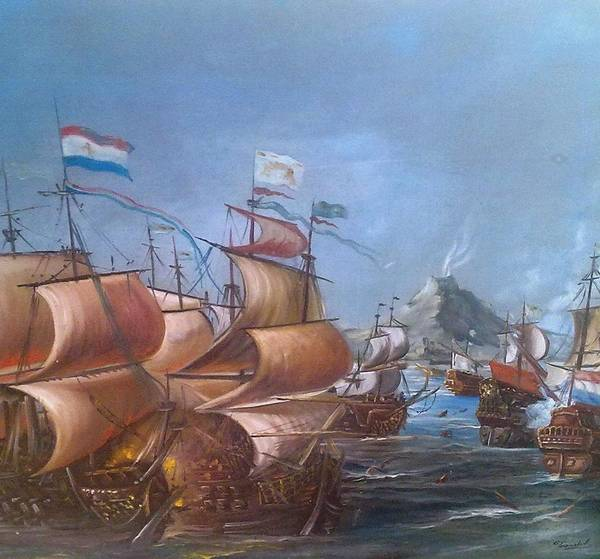 Volcanoe Painting - Spanish Boats by Teocaltiche