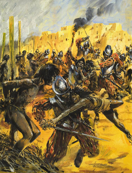 Wall Art - Painting - Spanish Conquistadors by Graham Coton