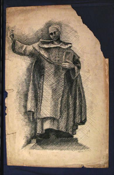 Drawing - Spanish Rev Miguel De Benavides 1963 by Glenn Bautista