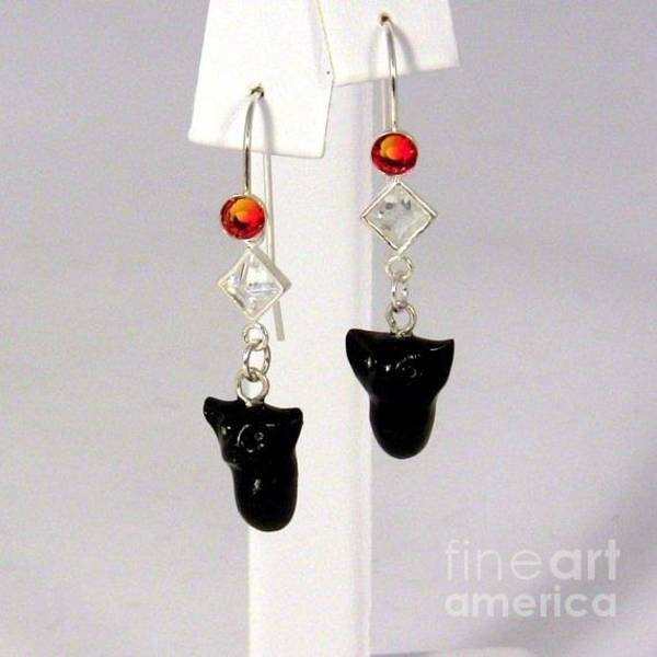 Jewelry - Sparkly Black Kitten Earrings In Fire Opal by Pet Serrano