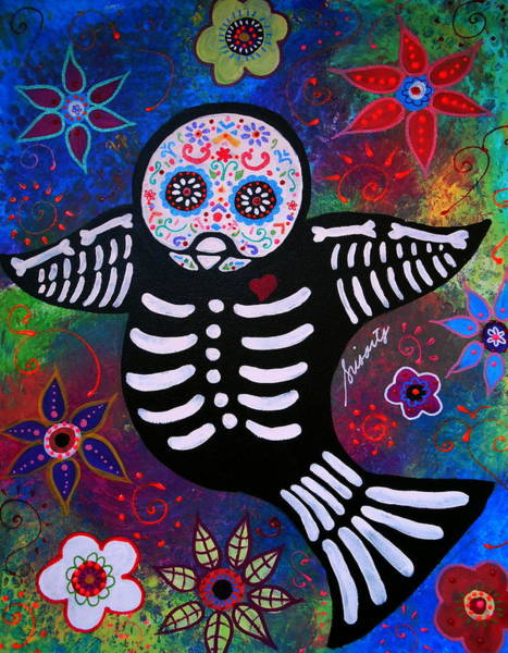 Toomer Wall Art - Painting - Sparrow Day Of The Dead by Pristine Cartera Turkus