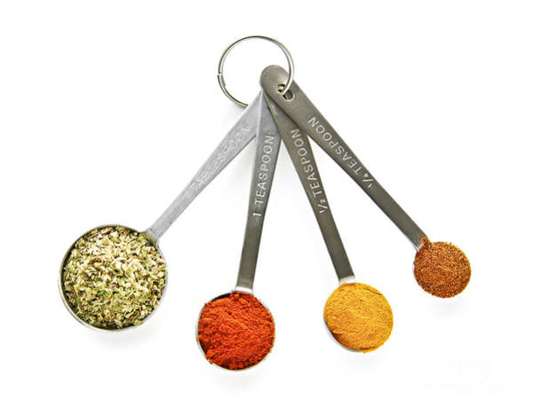 Stainless Steel Wall Art - Photograph - Spices In Measuring Spoons by Elena Elisseeva