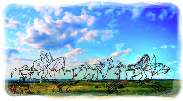 Digital Art - Spirit Warriors - Little Bighorn Battlefield Indian Memorial by Gary Baird