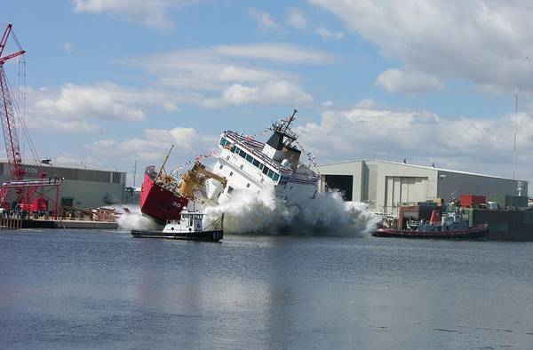 Photograph - Splash Launch Of The Coast Guard Cutter Mackinaw by Keith Stokes