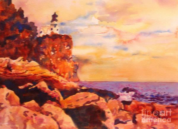 Lake Superior Painting - Split Rocks Golden Memories       by Kathy Braud