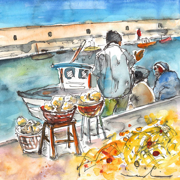 Sponge Painting - Sponge Fishermen In Heraklion by Miki De Goodaboom