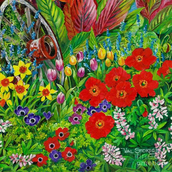 Painting - Spring Garden by Val Stokes