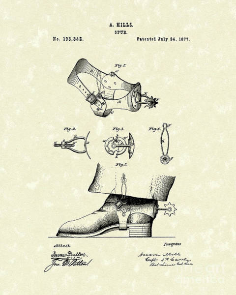 Drawing - Spur 1877 Patent Art by Prior Art Design