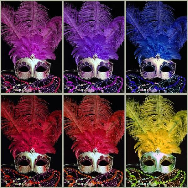 Photograph - Square Mardi Gras Mask Collage by Sheila Kay McIntyre