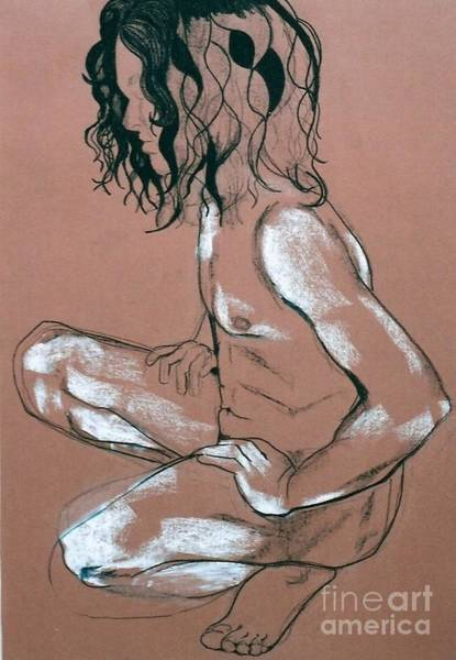 Male Model Drawing - Squating Male Nude by Joanne Claxton