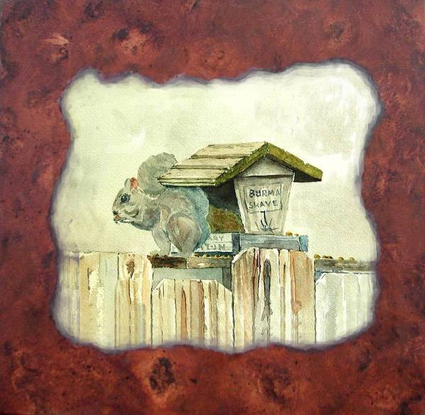 Painting - Squirel At Bird Feeder by Gary Partin