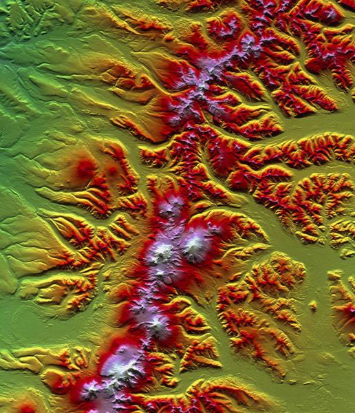 Kamchatka Photograph - Sredinnyy Khrebet Volcanoes, Radar Image by Nasa