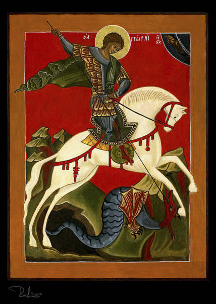 Painting - St George And The Dragon  Card by Raffaella Lunelli