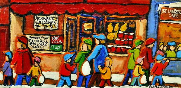 Painting - St Lawrence Street Montreal Schwartzs Deli City Scene by Carole Spandau