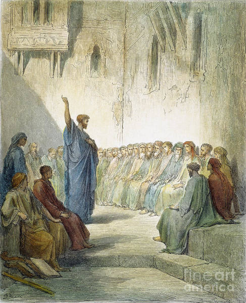 Drawing - St. Paul Preaching by Gustave Dore