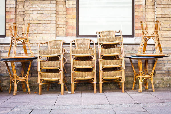 Fresco Wall Art - Photograph - Stacked Chairs by Tom Gowanlock