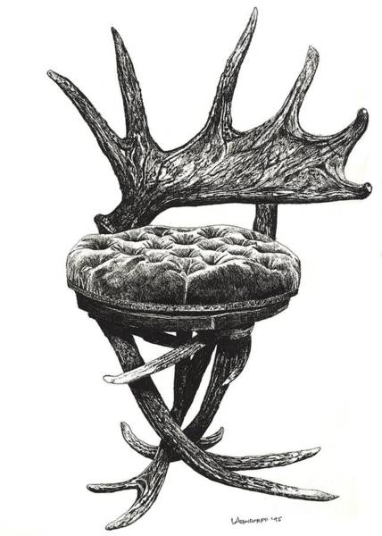 Antlers Drawing - Stag Antlers Chair by Adendorff Design