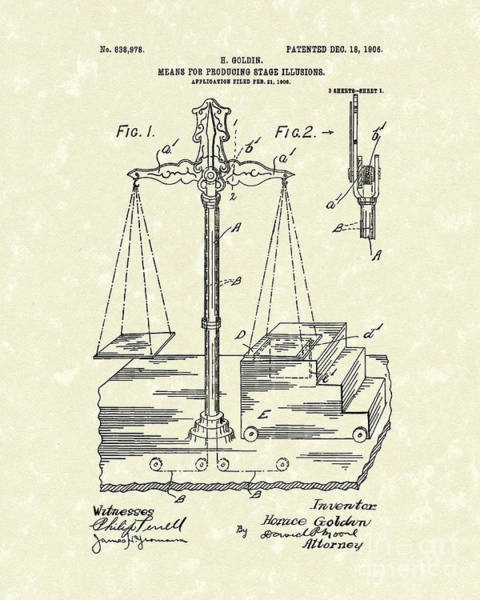 Trick Drawing - Stage Illusions 1906 Patent Art by Prior Art Design