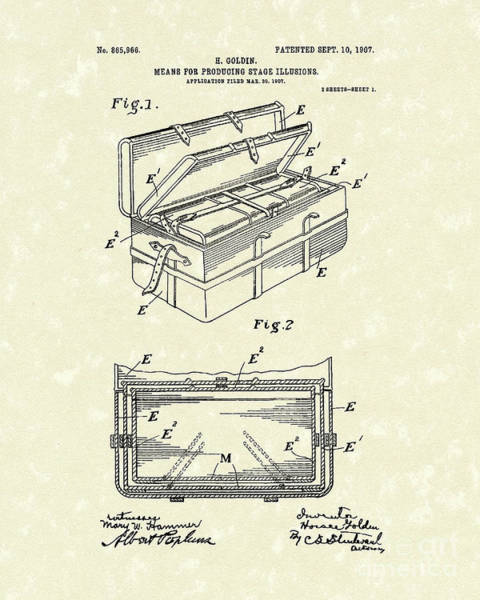 Drawing - Stage Illusions 1907 Patent Art by Prior Art Design