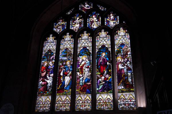 Bath Abbey Photograph - Stained Glass - Bath Abbey by Jon Berghoff