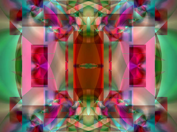 Digital Art - Stained Glass In Red And Green by Lynda Lehmann
