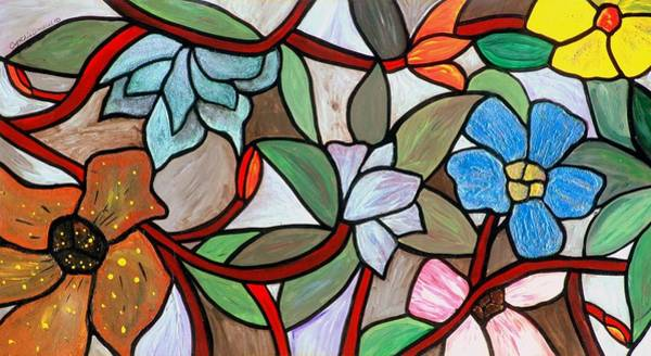 Art Print featuring the painting Stained Glass Wild  Flowers by Cynthia Amaral