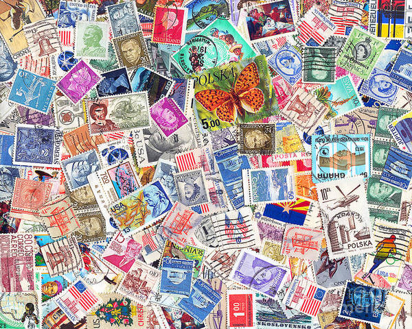 Stamp Collecting Photograph - Stamp Collection . 8 To 10 Proportion by Wingsdomain Art and Photography