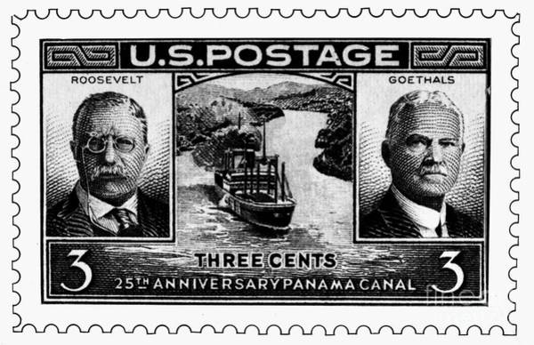 Wall Art - Photograph - Stamp: Panama Canal by Granger
