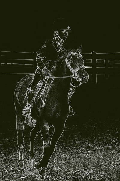 Girl And Horse Photograph - Stand Out Glowing Duo by Karol Livote