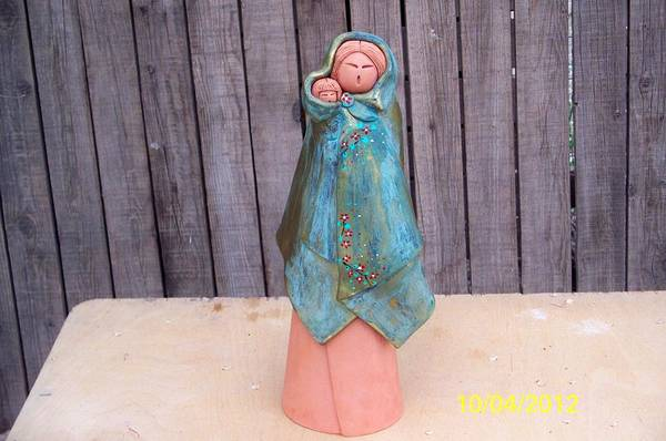 Wall Art - Ceramic Art - Standing Figure With Baby by Esta Bain
