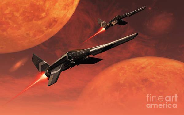 Cyborg Digital Art - Star Fighters On A Routine Space Patrol by Mark Stevenson