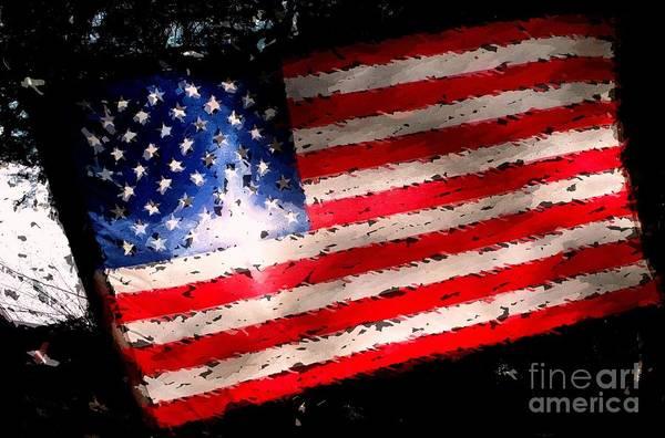 Grime Digital Art - Star On The Flag by Carol Grimes
