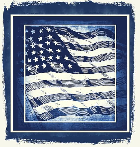 Mixed Media - Star Spangled Banner Blue by Angelina Tamez