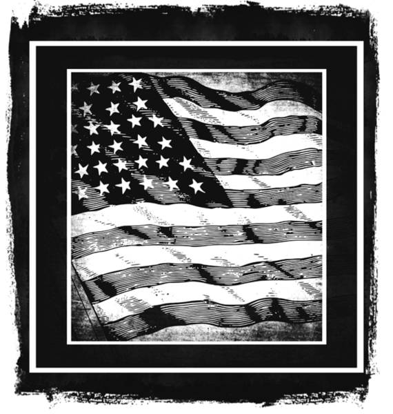 Mixed Media - Star Spangled Banner Bw by Angelina Tamez