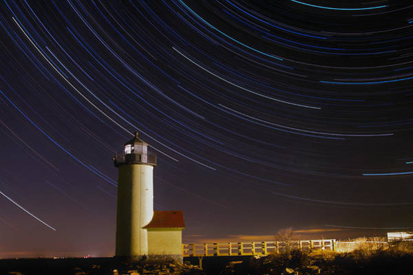 Photograph - Star-trails Over Annisquam Lighthouse by Dale J Martin