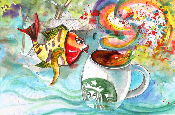 Drawing - Starbucks Coffee In Limassol by Miki De Goodaboom