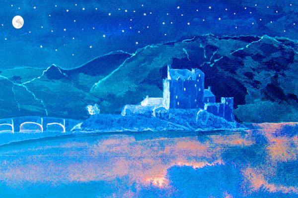 Eilean Donan Castle Digital Art - Starry Night Eilean Donan Castle by Louise Grant