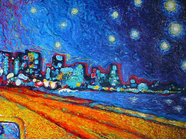 Cartagena Painting - Starry Sky Over Bocagrande by Ericka Herazo