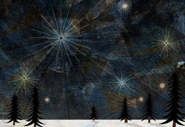 Horizontal Landscape Digital Art - Stars Glistening In The Sky Above Pine Trees And Snow On The Ground by Jutta Kuss