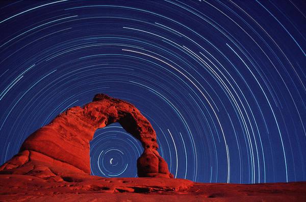 Wall Art - Photograph - Stars Trails & Delicate Arch by David Nunuk