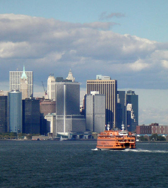Photograph - Staten Island Ferry And New York Skyline by Nancy De Flon