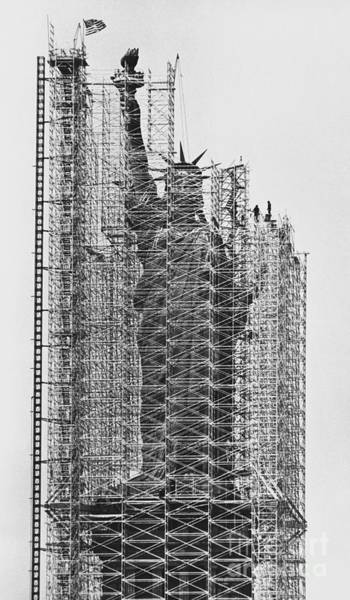 Wall Art - Photograph - Statue Of Liberty Being Renovated by Jan Lukas and Photo Researchers