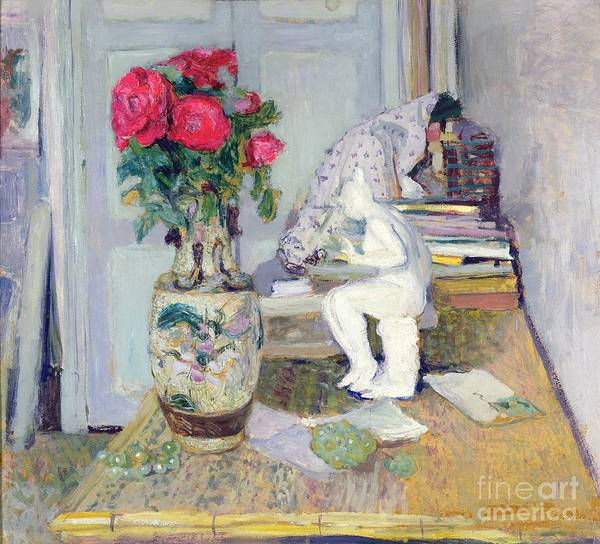 Messy Painting - Statuette By Maillol And Red Roses by Edouard Vuillard