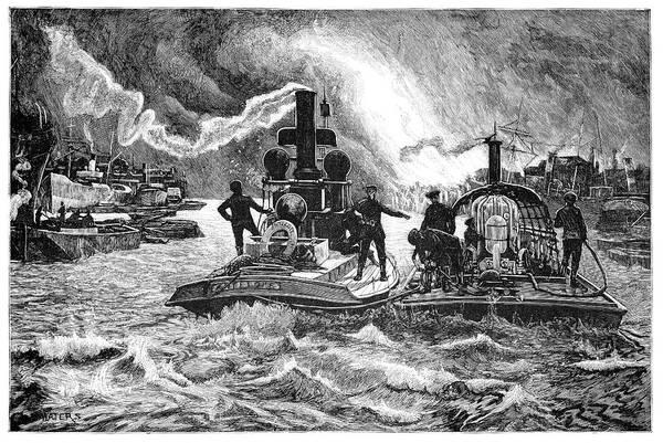 Fireboat Wall Art - Photograph - Steam Fireboats, 19th Century by
