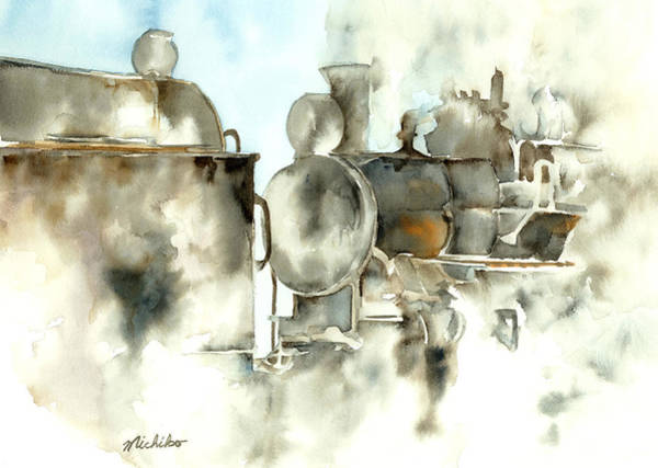 Freight Trains Painting - Steam Ghost by Michiko Taylor