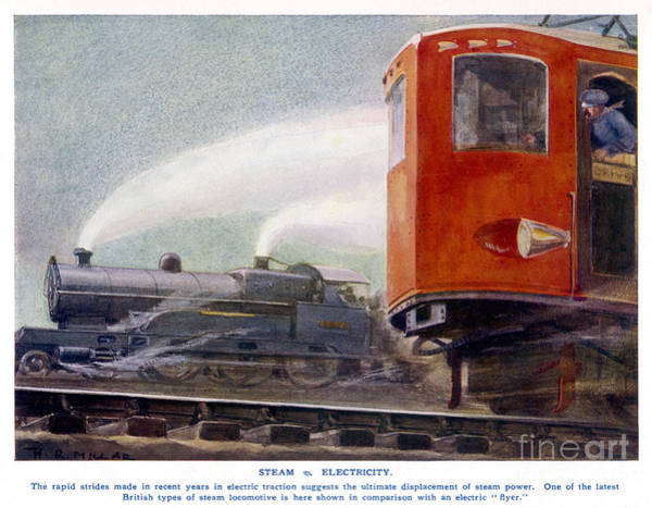 Wall Art - Drawing - Steam Trains Versus Electric by Mary Evans and Photo Researchers