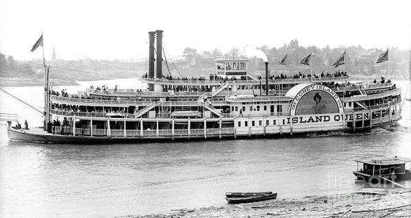 Houseboat Photograph - Steamboat 'island Queen' 1906 Bw by Padre Art
