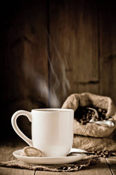 Rustic Photograph - Steaming Coffee by Amanda Elwell