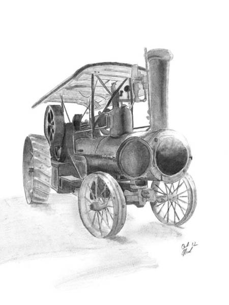 Old Tractor Drawing - Steaming Up by Carl Muller