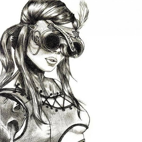 Sketch Wall Art - Photograph - Steampunk Girl 1 by Andres R